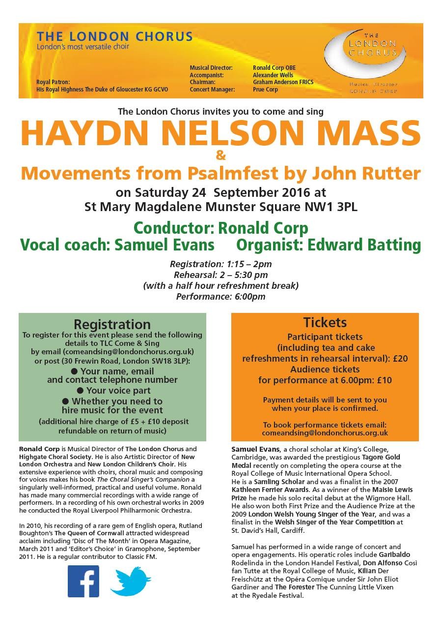 Come & Sing Nelson Mass 24th September